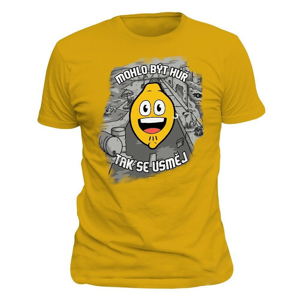 Žluté tričko s herními motivy.